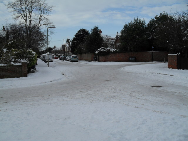 A snowy scene at the staggered crossroads
