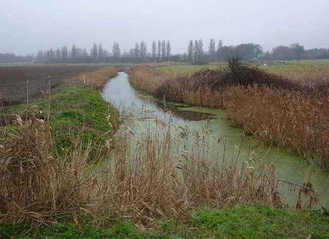 Drain between Hollesley and Oxley Marshes