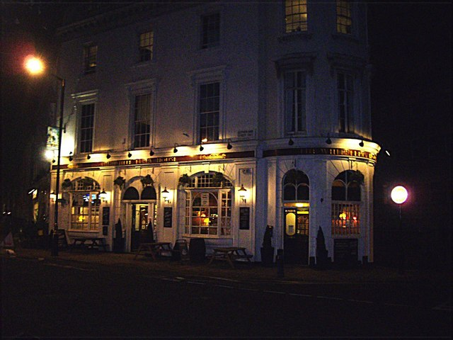 White Ferry Hotel at night