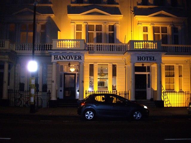 Hanover Hotel at night