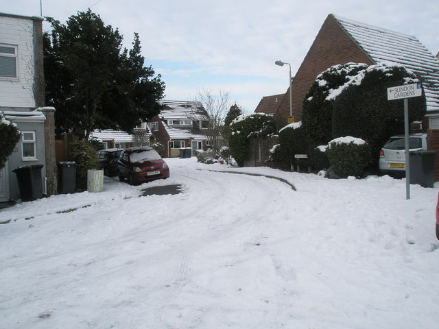 Boundary of Juniper Square and a snowy Slindon Gardens