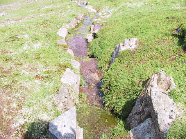 Drainage channel & footpath management on the path in Hollow Stones