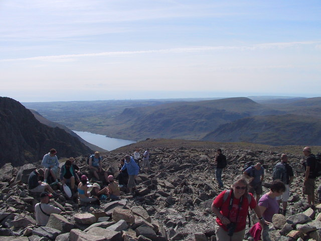 Busy on top of Scafell Pike