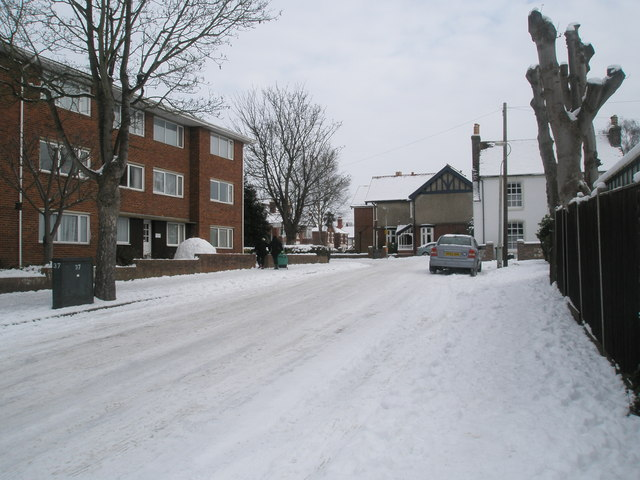 Western end of a snowy Grove Road