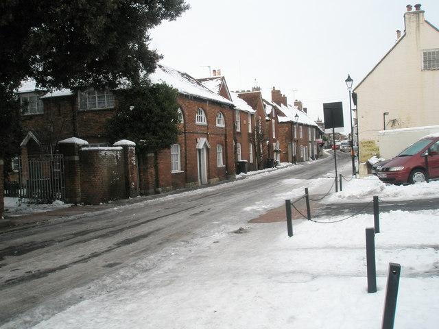 Snow covered homes in South Street