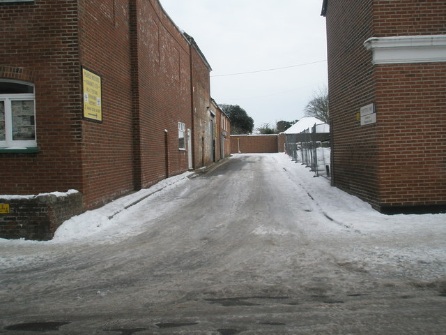 Looking from South Street into an icy Twittens Way
