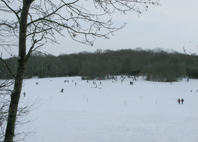 Langdon Hills recreation ground cricket pitch in snow