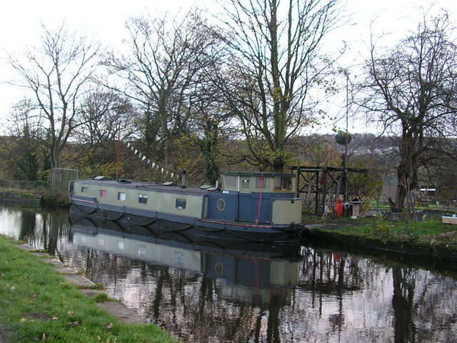 Houseboat on the Leeds & Liverpool Canal at Dowley Gap