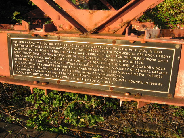 Plaque on crane in Bute East Dock, Cardiff