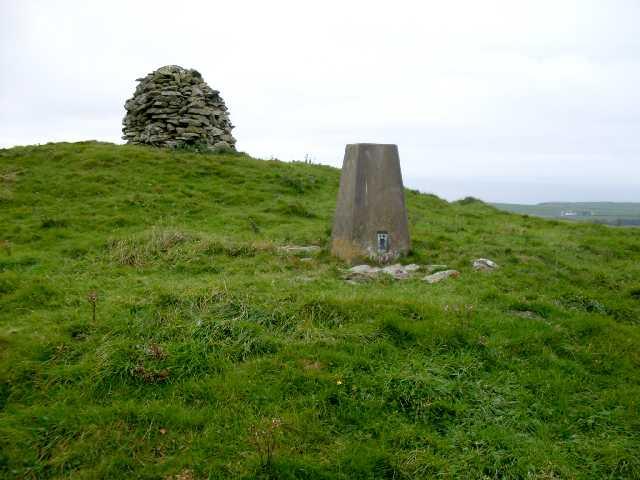 Fell of Barhullion. Trig Pillar and Cairn.