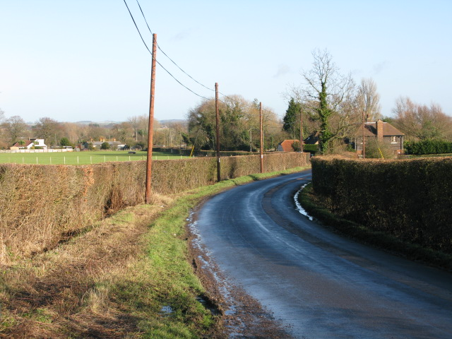 View along the road towards Mersham