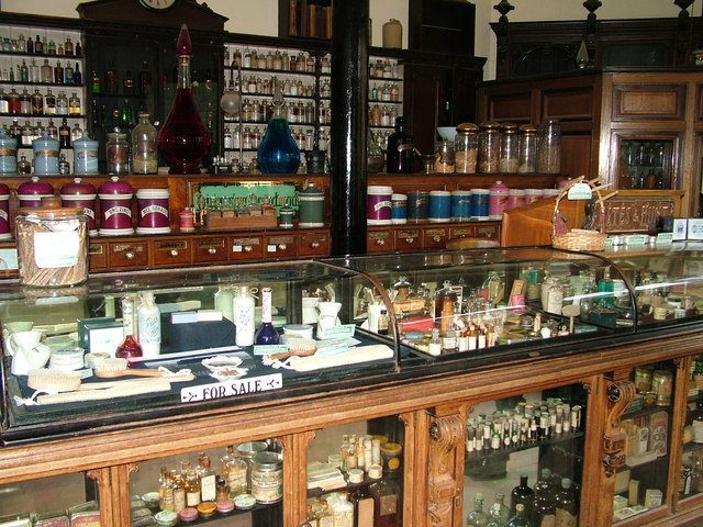 Inside the chemist's at Blists Hill