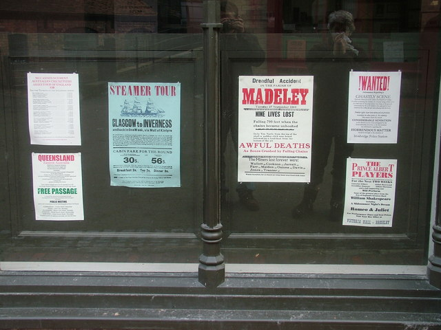 Signs in the Printer's window at Blists Hill Victorian Town