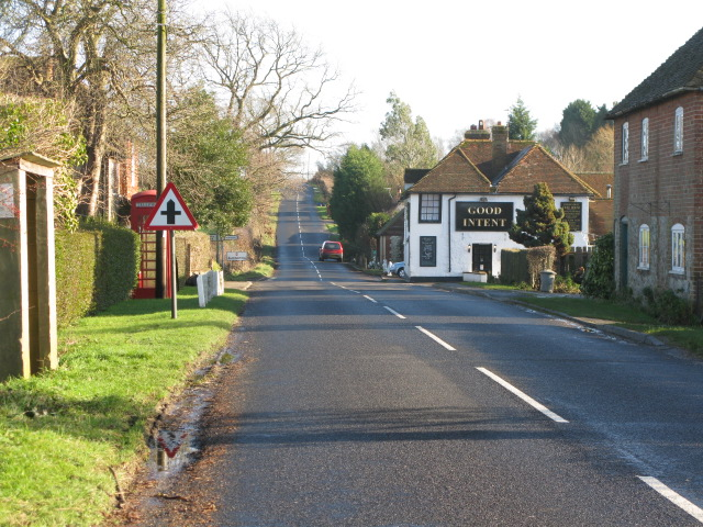 Looking E along Frith Road, Aldington Frith