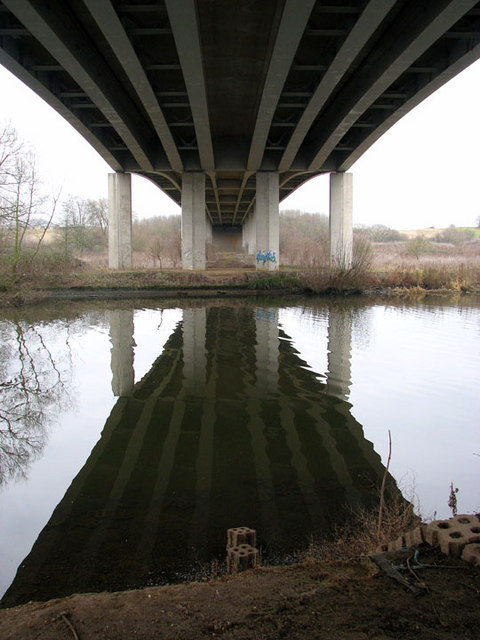View across the River Yare from below Postwick Viaduct