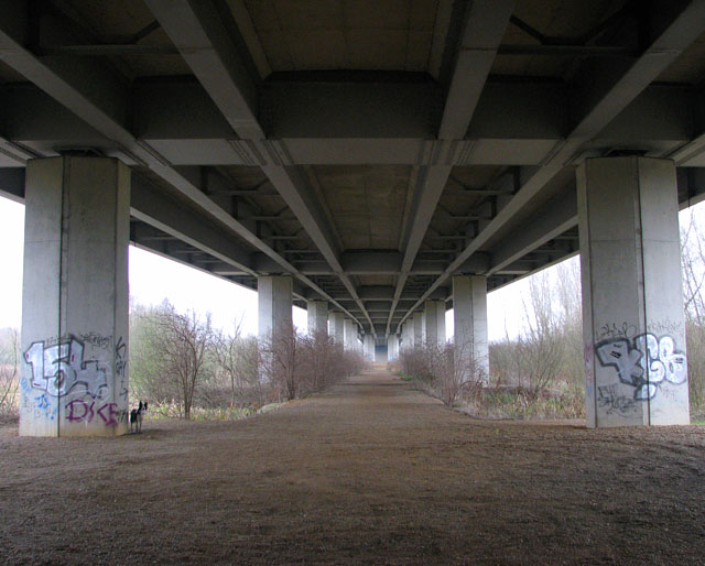 The Postwick Viaduct - view from one end to the other
