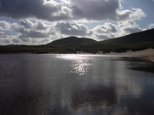 Dappled sunlight on Sandwood Loch