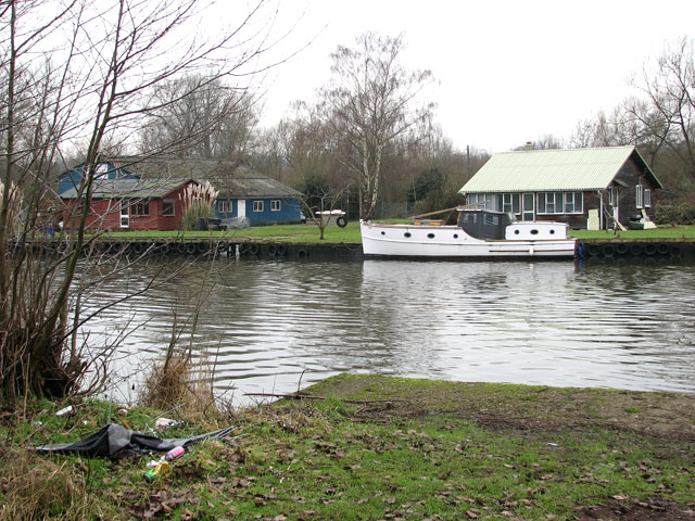Boat sheds and holiday homes on the River Yare