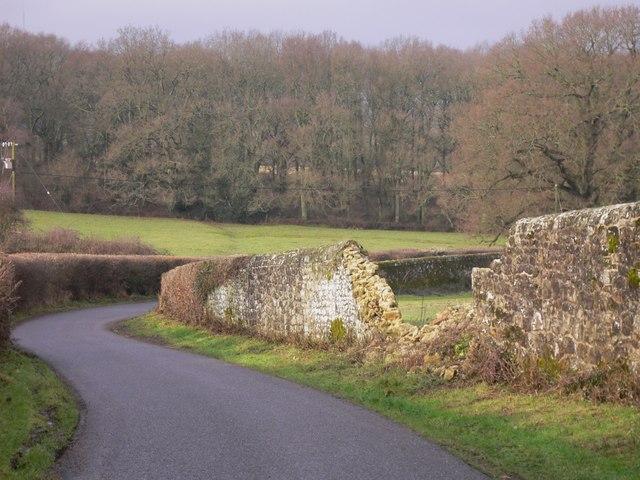 Breach in the Petworth Estate wall near Parkhurst Farmhouse