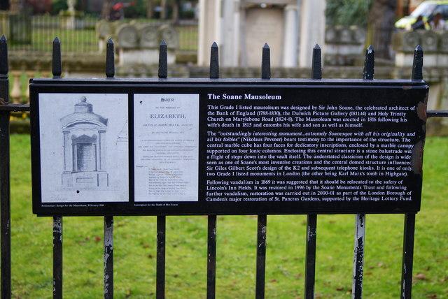 Plaque for the Soane Mausoleum, St.Pancras, London