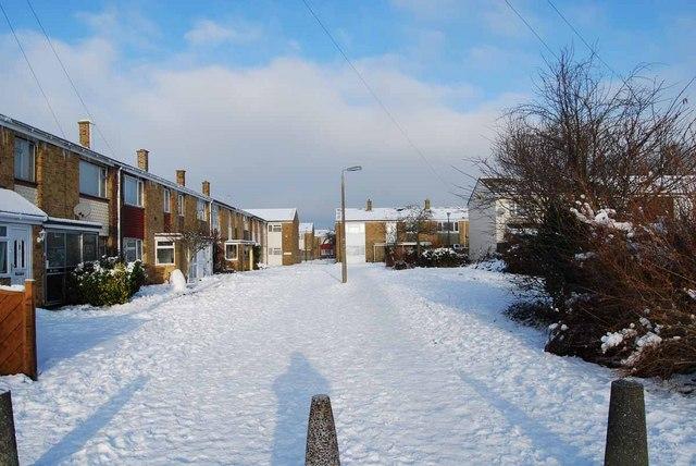 Bridgemary under snow - Southway (1)