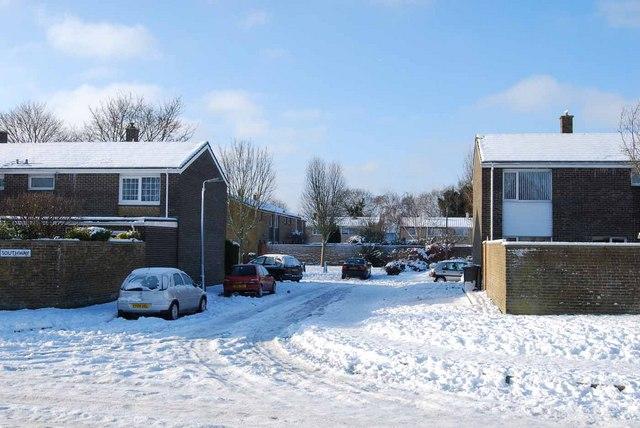 Bridgemary under snow - Southway (6)
