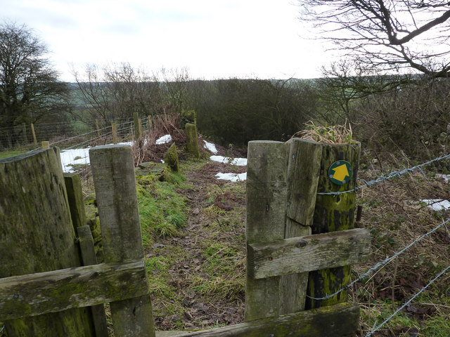Stile on path leading into Over Wood