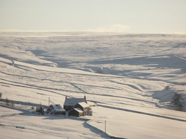 Hay Rake and the valley of Sinderhope Burn in the snow