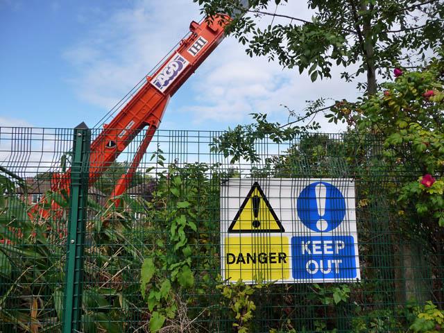 Warning notices alongside Metrolink worksite