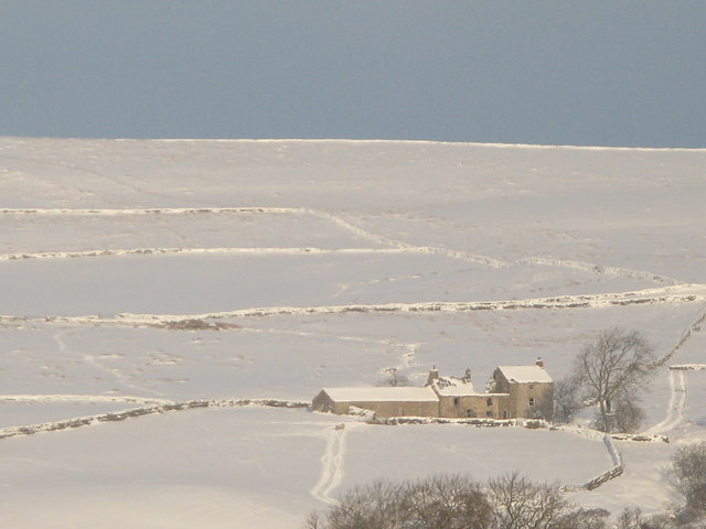 Moor House, Chat's Lane and Black Allotment in the snow