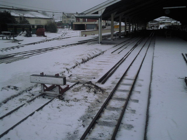 Track maintenance in the snow at New Romney