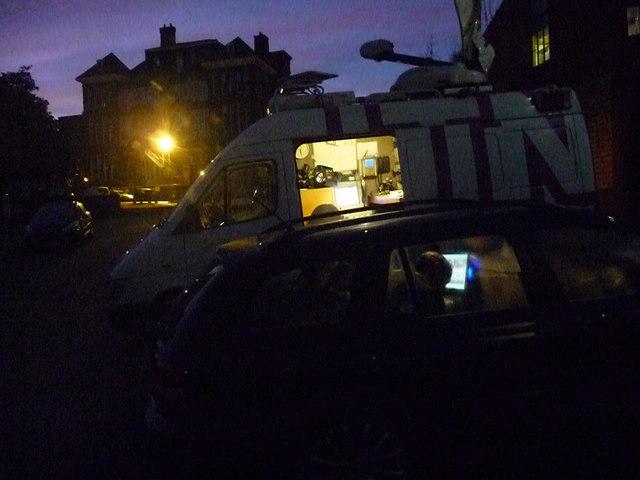 Exeter : Car Park & ITN News Truck