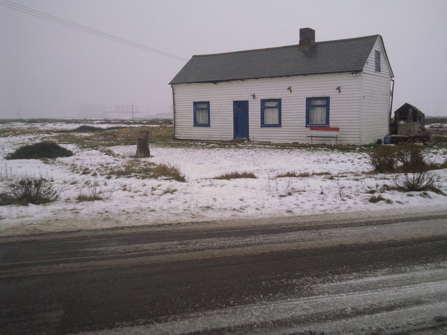 Dungeness cottage in winter