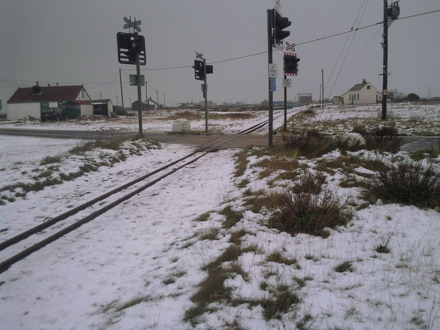 Towards Dungeness in the snow