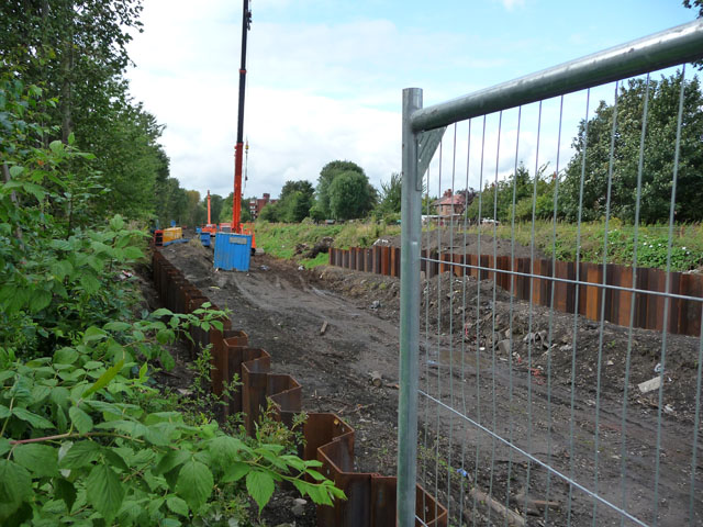 Piling along Metrolink extension route