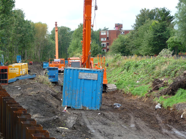 Piling contractors equipment, Metrolink extension to St Werburgh's Road
