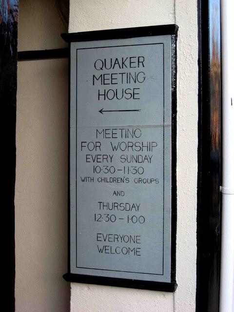 Quaker Meeting House sign, 21 King Street
