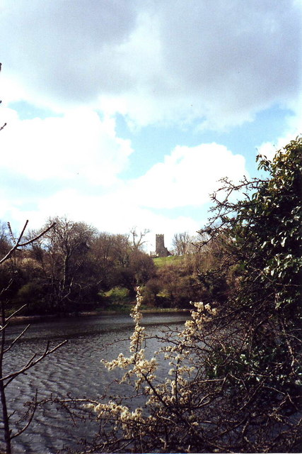 View over the lily pond to Bosherston church, Pembrokeshire