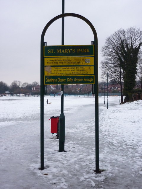 St Mary's Park, Prestwich, Sign