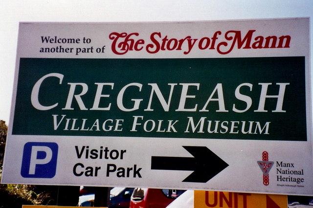 Cregneash - Village Folk Museum and Car Park sign