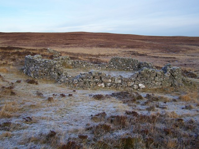 Partially dilapidated 19th Century sheepfold in the frost.