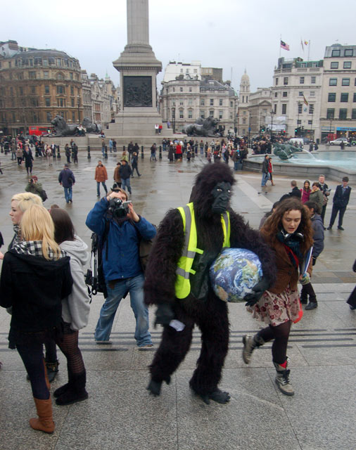 Protester in a gorilla suit in Trafalgar Square