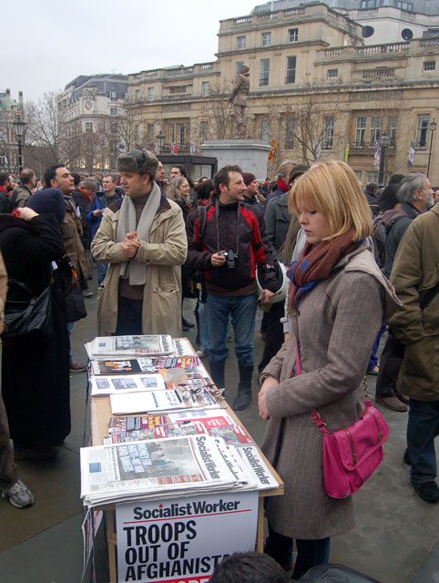 'Socialist Worker' on sale at a demonstration in Trafalgar Square