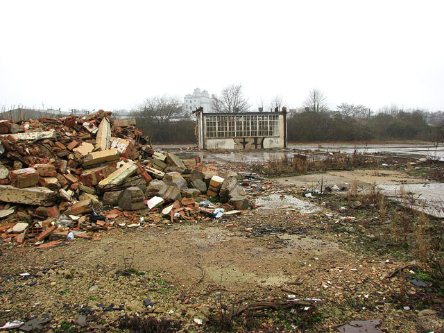 The Deal Ground - rubble beside the only remaining building