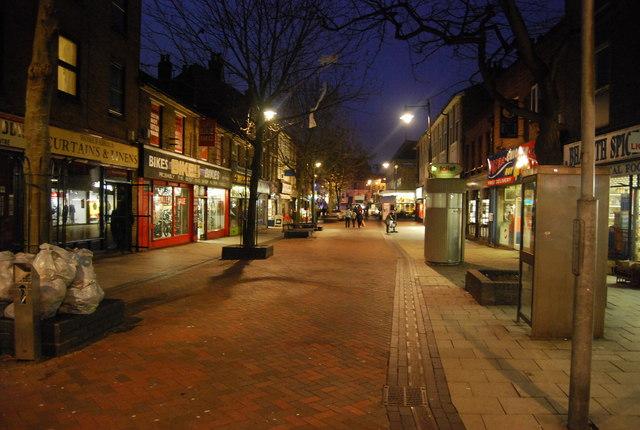 Gillingham High St after dusk