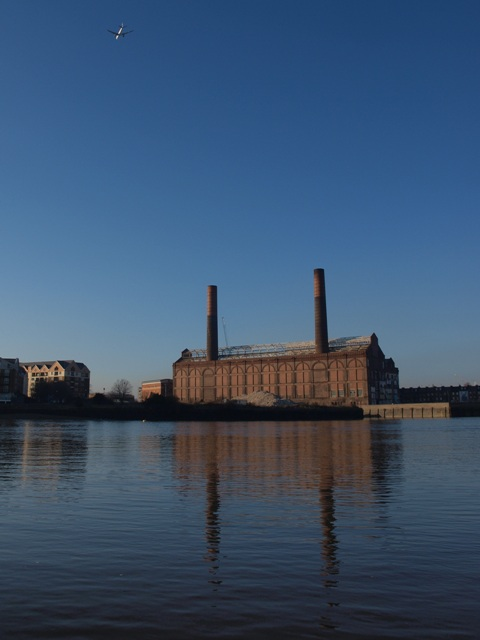 The old Chelsea Power Station from Battersea Reach