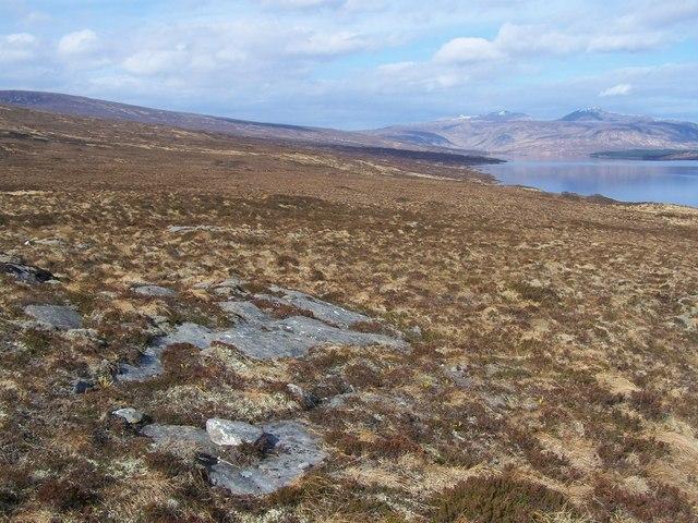 Moine rock slabs on the barren hillside on the SW side of Loch Shin