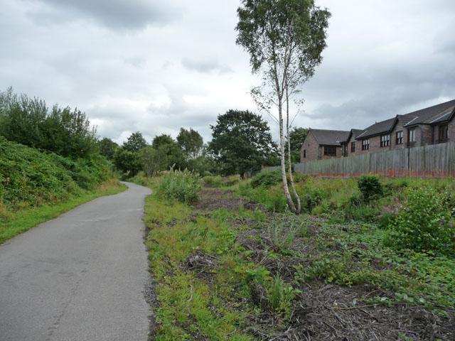 Cycle path along disused railway near Chorlton Junction