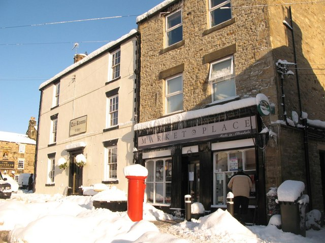 Allendale Tea Rooms and Market Place, Market Place, in the snow
