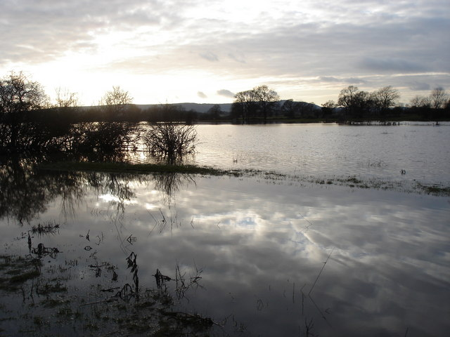 Henfield - flooded fields west of the disused railway track